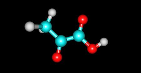 Pyruvic acid is the simplest of the alpha-keto acids, with a carboxylic acid and a ketone functional group. 3d illustration Stock Illustration - 110602232