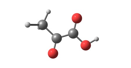 Pyruvic acid is the simplest of the alpha-keto acids, with a carboxylic acid and a ketone functional group. 3d illustration Stock Illustration - 110602237