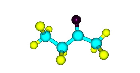 Butanone or methyl ethyl ketone is an organic compound with the formula CH?CCH?CH?. This colorless liquid ketone has a sharp, sweet odor. 3d illustration Stock Illustration - 110755606