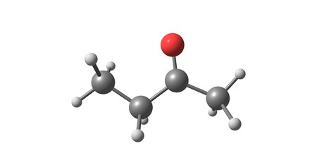 Butanone or methyl ethyl ketone is an organic compound with the formula CH?CCH?CH?. This colorless liquid ketone has a sharp, sweet odor. 3d illustration
