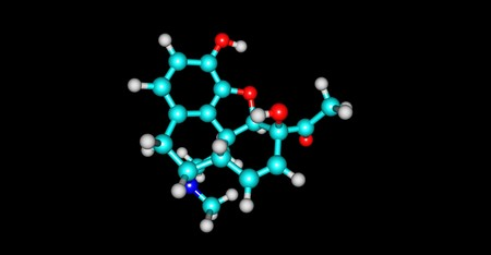 6-Monoacetylmorphine is one of three active metabolites of heroin, the next one is morphine and the less active 3-monoacetylmorphine. 3d illustration Stockfoto - 110887312