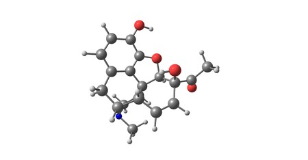 6-Monoacetylmorphine is one of three active metabolites of heroin, the next one is morphine and the less active 3-monoacetylmorphine. 3d illustration
