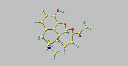 6-Monoacetylmorphine is one of three active metabolites of heroin, the next one is morphine and the less active 3-monoacetylmorphine. 3d illustration Stockfoto - 110887317