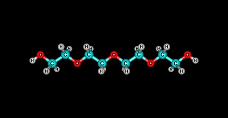 Tetraethylene glycol molecular structure isolated on black