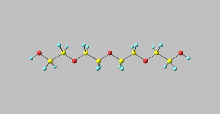 Tetraethylene glycol molecular structure isolated on grey Stock Photo