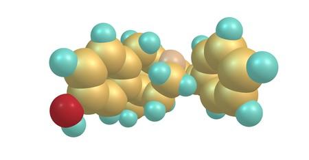 Levophenacylmorphan molecular structure isolated on white