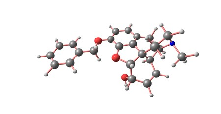 Benzylmorphine is much like codeine, containing a benzyl group attached to the morphine molecule. 3d illustration