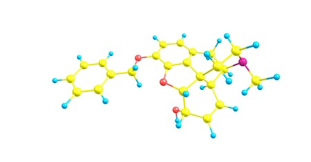 Benzylmorphine is much like codeine, containing a benzyl group attached to the morphine molecule. 3d illustration Stock Illustration - 115733663