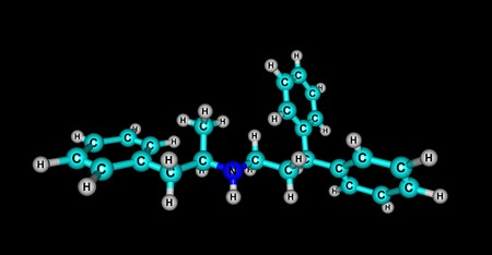 Prenylamine is a calcium channel blocker of the amphetamine chemical class which was used as a vasodilator in the treatment of angina pectoris. 3d illustration 写真素材