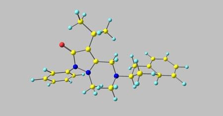 Famprofazone is a nonsteroidal anti-inflammatory agent of the pyrazolone series which is available over-the-counter in some countries. 3d illustration Standard-Bild - 115733732