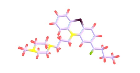 Butaperazine is a typical antipsychotic of the phenothiazine class. 3d illustration Stock Photo