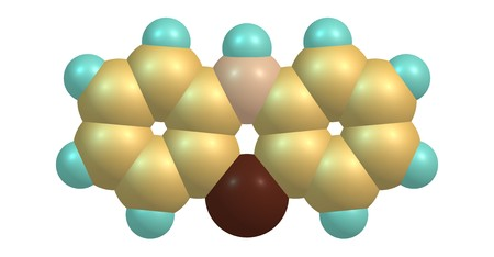 Phenothiazine or PTZ is an organic compound that is related to the thiazine-class of heterocyclic compounds. 3d illustration Stock Photo