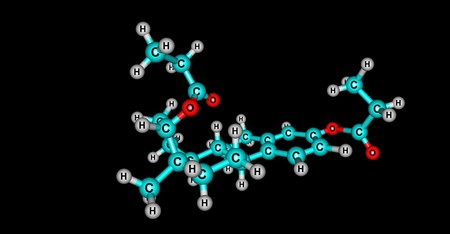 Estradiol dipropionate molecular structure isolated on black 版權商用圖片