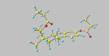 Estradiol dipropionate molecular structure isolated on grey