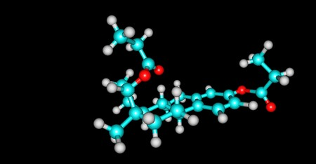 Estradiol dipropionate molecular structure isolated on black 版權商用圖片 - 118553479