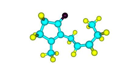 Jasmone molecular structure isolated on white