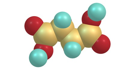 Tartaric acid is a white, crystalline organic acid that occurs naturally in many fruits, for example in grapes. 3d illustration
