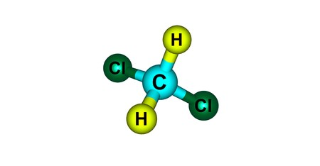 Dichloromethane or DCM or methylene chloride is a geminal organic compound with the formula CH2Cl2. 3d illustration Stock Illustration - 118553649