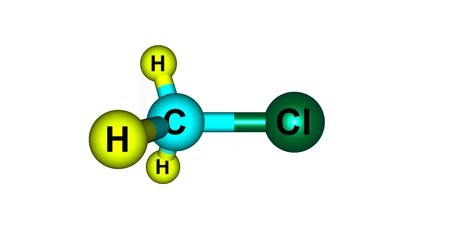 Chloromethane or methyl chloride, Refrigerant-40, is a chemical compound of the group of organic compounds called haloalkanes. 3d illustration Banco de Imagens
