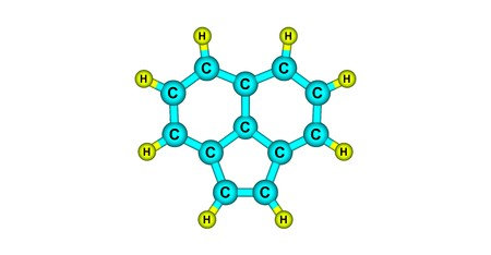 Acenaphthylene is a polycyclic aromatic hydrocarbon. The molecule resembles naphthalene. It occurs in coal tar. 3d illustration 写真素材