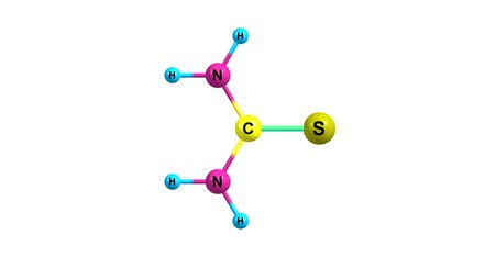 Thiourea is an organosulfur compound with the formula SCNH22. It is structurally similar to urea. 3d illustration Stock Illustration - 118700307