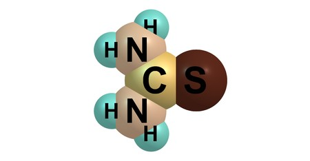 Thiourea is an organosulfur compound with the formula SCNH22. It is structurally similar to urea. 3d illustration Stock Illustration - 118700309