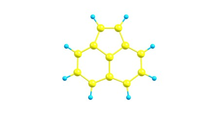 Acenaphthylene is a polycyclic aromatic hydrocarbon. The molecule resembles naphthalene. It occurs in coal tar. 3d illustration Standard-Bild - 118700382