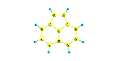 Acenaphthylene is a polycyclic aromatic hydrocarbon. The molecule resembles naphthalene. It occurs in coal tar. 3d illustration Stock Illustration - 118700385