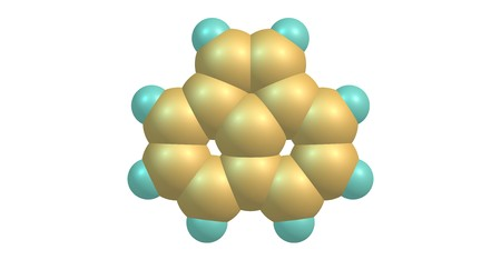 Acenaphthylene is a polycyclic aromatic hydrocarbon. The molecule resembles naphthalene. It occurs in coal tar. 3d illustration Banco de Imagens