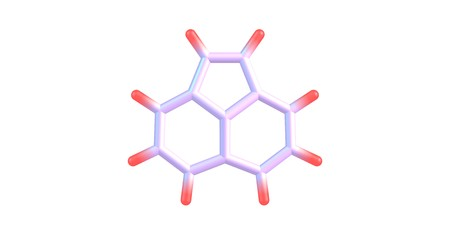 Acenaphthylene is a polycyclic aromatic hydrocarbon. The molecule resembles naphthalene. It occurs in coal tar. 3d illustration Stock Photo