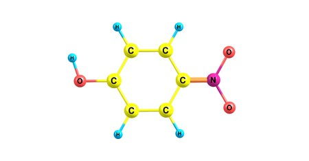 4-Nitrophenol is a phenolic compound that has a nitro group at the opposite position of the hydroxyl group. 3d illustration Standard-Bild - 118977134