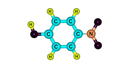 4-Nitrophenol is a phenolic compound that has a nitro group at the opposite position of the hydroxyl group. 3d illustration Standard-Bild - 118977164