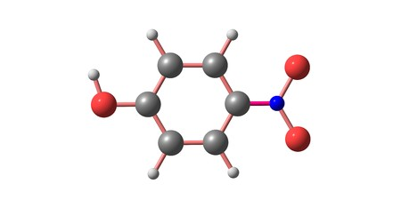 4-Nitrophenol is a phenolic compound that has a nitro group at the opposite position of the hydroxyl group. 3d illustration Stock Illustration - 118977221