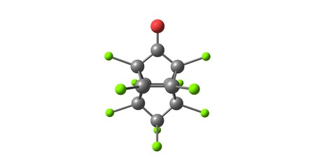 Kepone or chlordecone, is an organochlorine compound and a colourless solid. 3d illustration Stock Illustration - 120335641