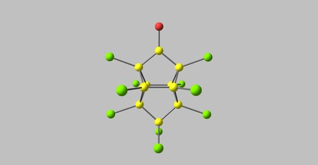 Kepone or chlordecone, is an organochlorine compound and a colourless solid. 3d illustration Standard-Bild - 120335643