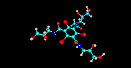 Iohexol is a contrast agent used during X-rays. It is used when visualizing arteries, veins, ventricles of the brain, the urinary system, and joints. 3D illustration