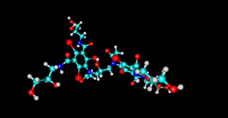 Iodixanol is an iodine-containing non-ionic radiocontrast agent. It is commonly used as a contrast agent during coronary angiography. 3d illustration Standard-Bild - 121396859
