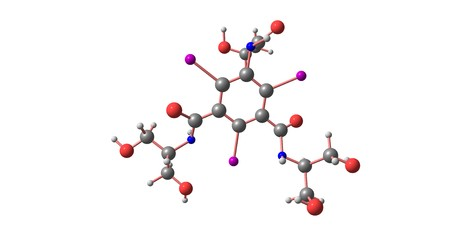 Iopamidol is an organic iodine compound and used as a non-ionic water soluble radiographic contrast medium. 3d illustration Banco de Imagens - 125013809