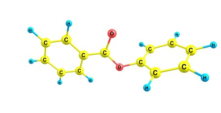 Phenyl benzoate is a benzoate ester obtained by the formal condensation of phenol with benzoic acid. 3d illustration Banco de Imagens - 125013811