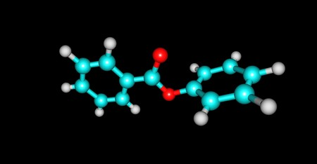 Phenyl benzoate is a benzoate ester obtained by the formal condensation of phenol with benzoic acid. 3d illustration Banco de Imagens - 125013816