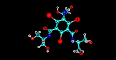 Iopamidol is an organic iodine compound and used as a non-ionic water soluble radiographic contrast medium. 3d illustration Banco de Imagens - 125013853