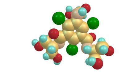 Iopamidol is an organic iodine compound and used as a non-ionic water soluble radiographic contrast medium. 3d illustration Banco de Imagens - 125013856