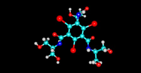 Iopamidol is an organic iodine compound and used as a non-ionic water soluble radiographic contrast medium. 3d illustration Banco de Imagens - 125014050