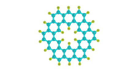 Kekulene is a polycyclic aromatic hydrocarbon and a circulene with the chemical formula C48H24. 3d illustration Banco de Imagens - 125014059