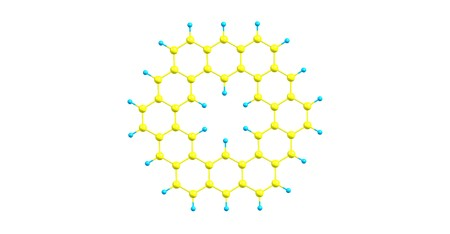 Kekulene is a polycyclic aromatic hydrocarbon and a circulene with the chemical formula C48H24. 3d illustration