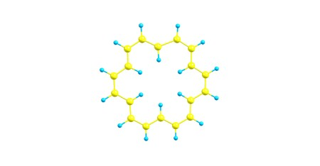 Cyclooctadecanonaene or 18-annulene is an organic compound with chemical formula C18H18. 3d illustration Banco de Imagens - 125014074