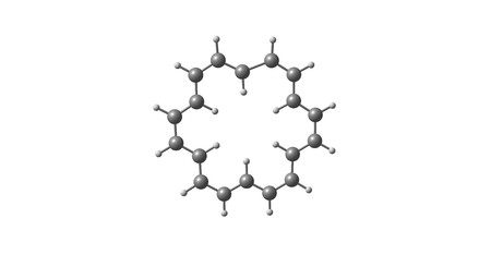Cyclooctadecanonaene or 18-annulene is an organic compound with chemical formula C18H18. 3d illustration