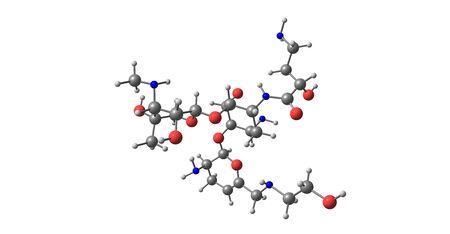 Plazomicin antibiotic molecular structure isolated on white Banco de Imagens