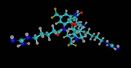Brilacidin antibiotic molecular structure isolated on black