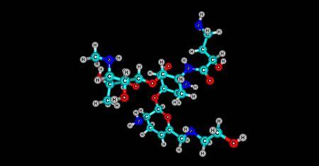 Plazomicin antibiotic molecular structure isolated on black